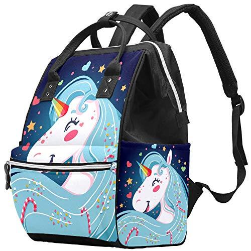Bright Happy Unicorn Nappy Changing Bag Diaper Sac à dos avec poches isolées, sangles de poussette, grande capacité multifonctionnel élégant sac à couches pour maman papa en plein air