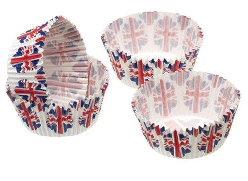 Paquet de 80 porta-dolcetti Papier Mini Cupcake Drapeau UK 4.5 cm