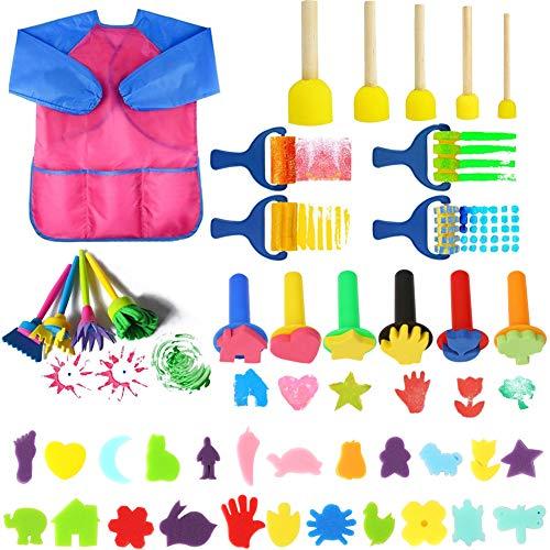 UHAPEER 44 Pièces Éponge Brosses de Peinture Enfant DIY Outils de Peinture Kits pour Enfants pour Apprentissage Précoce Graffiti