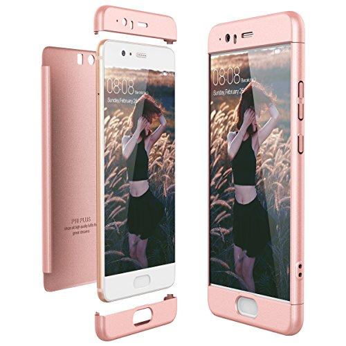 CE-Link Cover Huawei P10 Plus 360 Gradi Full Body Protezione, Custodia Huawei P10 Plus Silicone Rigida Snap On Struttura 3 in 1 Antishock e Antiurto - Oro Rosa