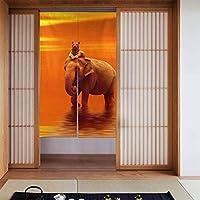 虎と象 のれん 目隠し カーテン 部屋仕切り 間仕切り 遮光 おしゃれ 86x143cm
