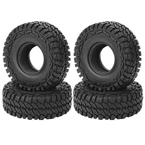 4 Neumáticos de goma para coche RC, 120 mm Neumáticos de goma con patrón de rayas negras Ruedas y juegos de neumáticos para vehículos RC Pieza de repuesto apta para SCX10 AXI03007 D90 1/10 RC Car