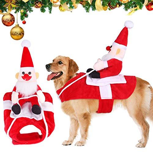Vestiti Natalizi Cani,Babbo Natale Costumi per Cane,Costume Babbo Natale per Cane,Costume Natalizio per Cani,Abbigliamento Natale Cane,Dog Christmas Costume,Babbo Natale Vestito Cane (M)
