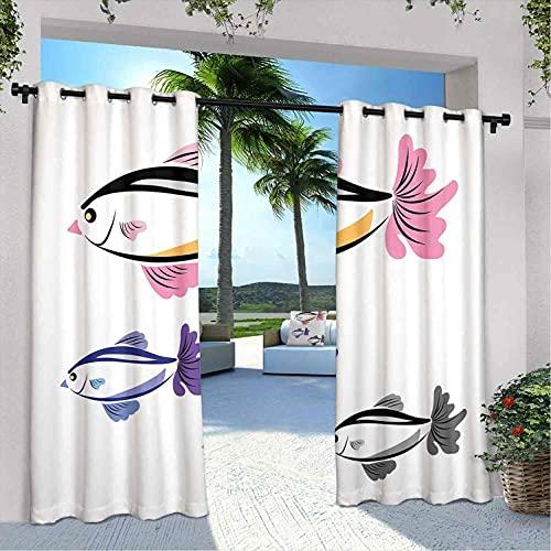 Cortinas para patio con diseño de peces marinos ilustrados con la cara de un pájaro dibujado a mano, para dormitorio, sala de estar, porche, pérgola, 120 x 72 pulgadas, color rosa morado