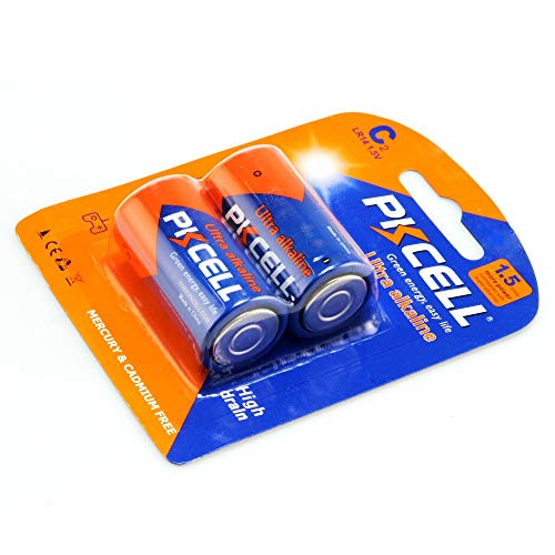 PKCELL 2 Count LR14 1.5V Alkaline C Battery, Long Lasting, All-Purpose C Battery for Household and Business