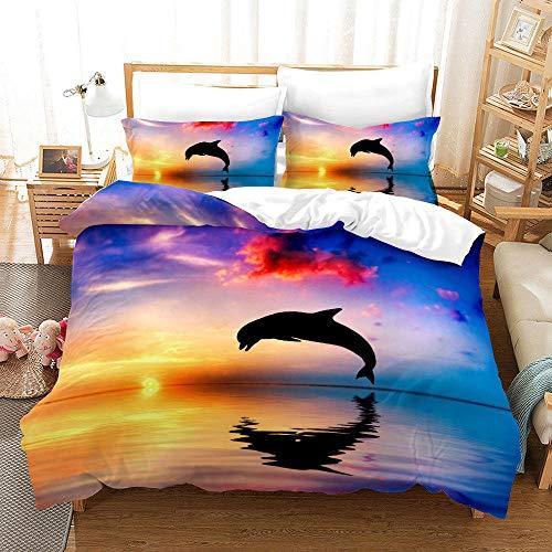 Bedclothes-Blanket Juego de sabanas Cama 150,Conjunto de colchas de impresión Digital 3D Tres Conjuntos de Almohadas con Capucha Conjunto de Dolphins Tortuga-2_245 * 210cm