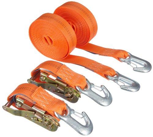 Braun Spanngurt 2000 daN, zweiteilig, für Profis und Privattransport, nach DIN EN 12195-2, Farbe orange, 6 m Länge, 35 mm Bandbreite, mit Ratsche und Karabinerhaken, 2er Set