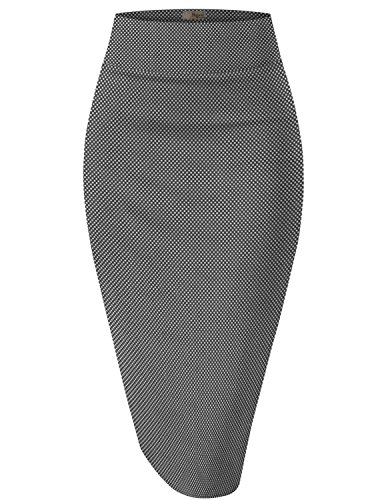 H&C Women's Elastic Waist Stretchy Office Pencil Skirt Made in USA KSK43584 10763 Black/Whit S