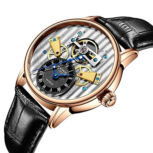 JTTM Reloj mecánico Impermeable Luminoso automático Explosivo Hombre de Negocios para Hombres Regalos para Hombres,Oro