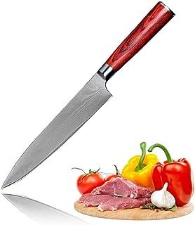 "Professional Chef Knife Sashimi Knives LEGENDARY Series Japanese VG10 Damascus Steel Hammered Finish 8"" Inch (200mm) Redwo..."