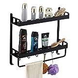 Yeegout adhesivo estanteria ducha con barra de toalla y ganchos, aluminio Espesamiento estanteria baño sin taladro montado en la pared estante para baño para cocina (2 nivel negro)