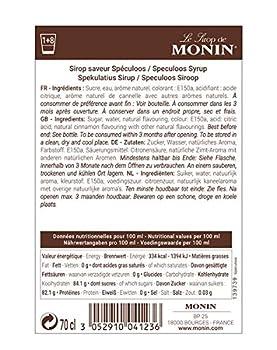 MONIN - Sirop de Speculoos pour Café, Cappuccino, Latte et Chocolat Chaud - Arômes Naturels - 70cl
