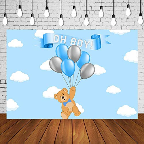 220x150cm Bear Boy Baby Shower Achtergrond Ballonnen Cartoon Beer Babyshower Achtergrond Pasgeboren Verjaardag Poster Sky Cloud Photo Booth Banner