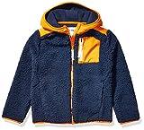 Spotted Zebra Boys' Kids Hooded Sherpa Fleece Jacket, Navy/Orange, Large