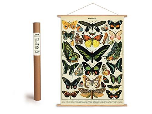 Vintage Poster Set mit Holzleisten (Rahmen) und Schnur zum Aufhängen, Motiv Schmetterlinge 2