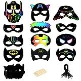 MEZOOM Masques de Super-héros à Gratter Scratch Art 24 Feuilles de Papier Spiderman Masque à Gratter Enfants Adulte Femme Cadeaux pour Déguisements Fête d'anniversaire Cosplay Dress Up Artisanat