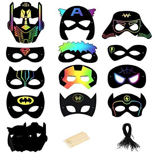 MEZOOM - Máscara de rascar para superhéroe, 24 unidades, papel de arte mágico para arañazos, color negro, con lápiz capacitivo de madera, para fiestas infantiles