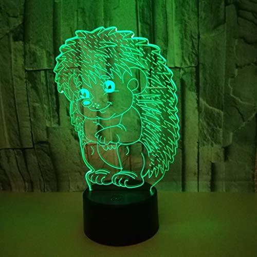 XFSE Lámpara de Mesa Animales Del Dibujo Animado Del Erizo Llevó La Lámpara De Regalos For Las Fiestas De Cumpleaños Creativo Decorativo Atmósfera Escritorio Remoto Táctil Noche USB Luz De Noche Color