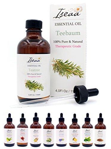 100% reines Ätherisches Teebaum Öl Therapeutische Grad Duftöl Teebaumöl für Aromatherapie, Massage, Wellness, Aroma Diffuser, Duftlampe 118 ml