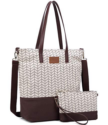 Myhozee Damen Handtasche Canvas Groß Schultertasche Tasche mit Einer Portmonee 2 Sets, Kaffee