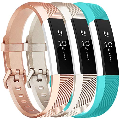Vancle Bands Compatible with Fitbit Alta HR and Fitbit Alta, Newest Sport Wristbands with Secure Metal Buckle for Fitbit Alta HR/Fitbit Alta, Champagne/Rose-Gold/Teal, Small