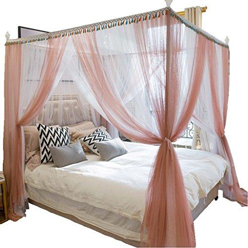 Moustiquaire Tente Princesse Filet de Canopy 4 Coin Post Installation Rapide et Facile pour la Maison Intérieure pas de Produits Chimiques Rose Blanc Plein Reine Taille King ( taille : 2.0m(6.6ft) )