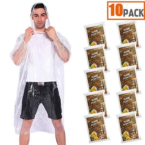 Rain Ponchos,with Drawstring Hood (10 pack)Emergency Disposable Rain Ponchos Family Pack For Adults,Fit Men And Women, Perfect for Disneyland,Clear