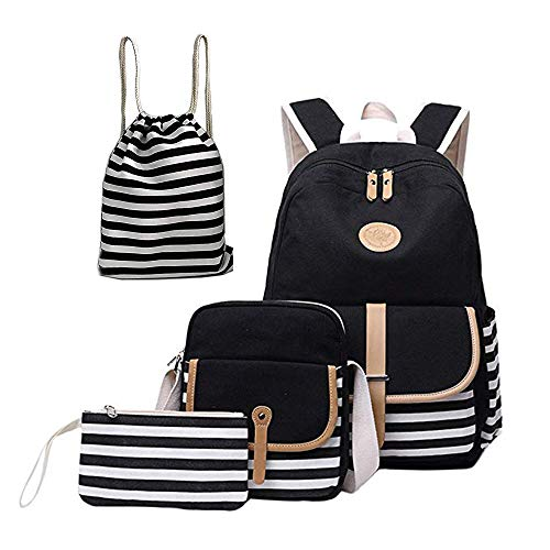 Dayiss 4 Teile Set Causal Rucksack Freizeitrucksack Daypacks Backpack, Rucksack Schule/Schulranzen +Kühltasche +Geldbeutel Mäppchen + Leinwand Kordelzug Turnbeutel