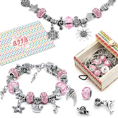 BIIB Geschenke für Mädchen Teens - Charm Armband Kit DIY, adventskalender mädchen 2020 adventskalender zum befüllen, Schmuck Bastelset Mädchen, Teenager Mädchen Geschenke 8-12 Jahre(3 Silber Kette)