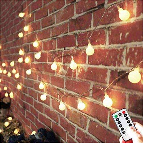 AMARS Battery Operated Globe String Lights with Remote Control 33FT LED Twinkle Ball Fairy Light Room Wall Hanging Decorative Lighting for Bedroom Backyard Patio Indoor Outdoor Porch (Warm White)