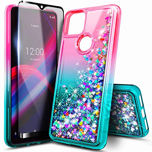 NZND Case for T-Mobile REVVL 4+ Plus with Tempered Glass Screen Protector (Full Coverage), Glitter Liquid Floating Waterfall Durable Girls Cute Phone Case Cover (Pink/Aqua)