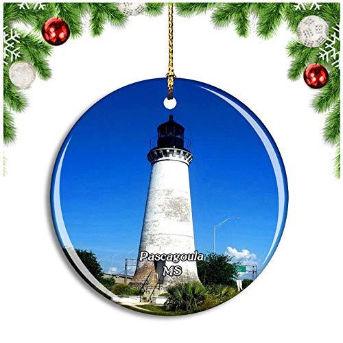 Weekino Pascagoula Lighthouse Mississippi USA Christmas Ornament Xmas Tree Decoration Hanging Pendant Travel Souvenir Collection Double Sided Porcelain 2.85 Inch