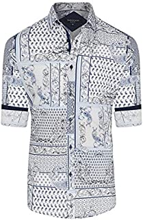 Tarocash Men's Pedro Slim Print Shirt Cotton Slim Fit Long Sleeve Sizes XS-5XL for Going Out Smart Occasionwear