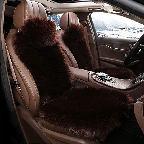 RR-YRC Winter Plush Car Seat Cover, Used for Car SUV Truck General Fit, Soft Plush Car Seat Cushion, Warm and Comfortable,Brown