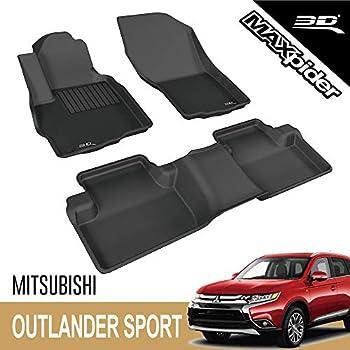 3D MAXpider - L1MT03601509 Mitsubishi Outlander Sport 2011-2019 Custome Fit All-Weather Car Floor Mats Liners Kagu Series  1st & 2nd Row Black