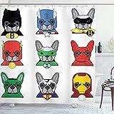 Alvaradod Cortina de Ducha de superhéroe,Bulldog,superhéroes,Divertidos Dibujos Animados de Cachorros disfrazados,Estampado de Perros,Blanco,Verde,con 12 Ganchos de plástico de 180x180 cm