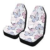 Qilmy 1 paquete de fundas de asiento delantero antideslizante para automóviles, asientos de cubo, para decoración universal, furgoneta, camioneta, SUV, lindas mariposas