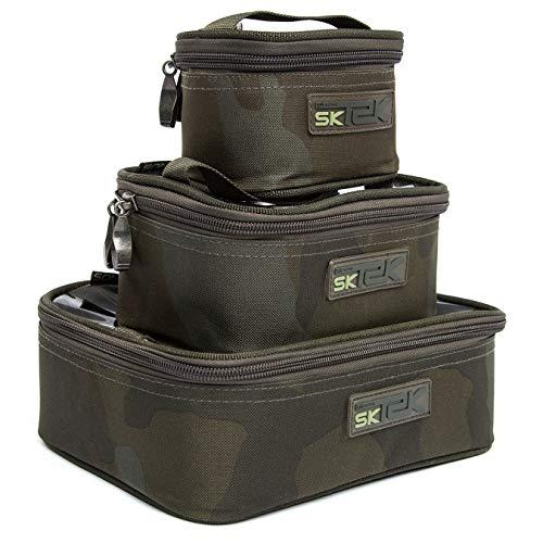Sonik SK-TEK torba na akcesoria wędkarskie kamuflaż - torba wędkarska dla wędkarzy karpi - torba wędkarska na karpię - mała torba na akcesoria wędkarskie z zamkiem błyskawicznym, rozmiar: L
