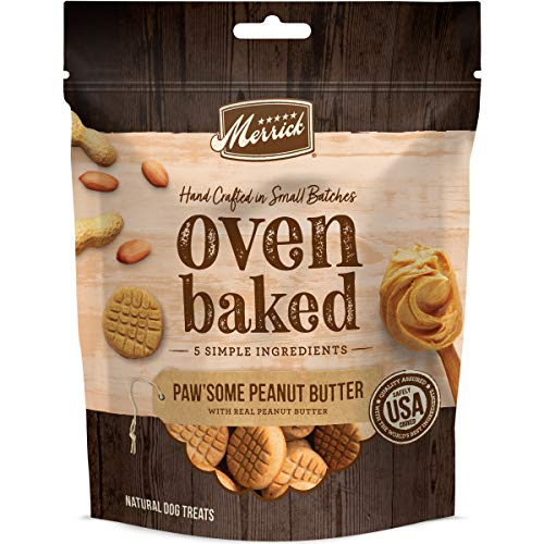 Merrick 76309 Oven Baked All Natural Hand Crafted in Small Batches Dog Treats 11 Oz Pouch Paw'some Peanut Butter