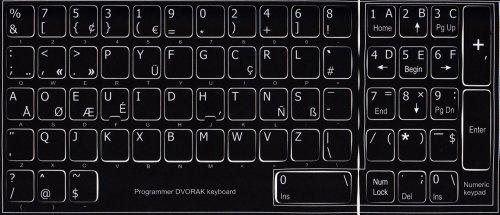 Dvorak Programmer Keyboard Stickers Non Transparent Black Background
