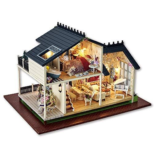 Jacksking Casa de muñecas de Madera, Miniatura de Madera de Bricolaje Montaje de Adornos Decorativos casa de muñecas Villa para niño niño