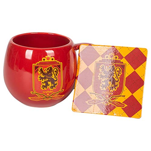 Gryffindor Crest Red and Gold 16 ounce Glossy Ceramic Mug and Coaster Set