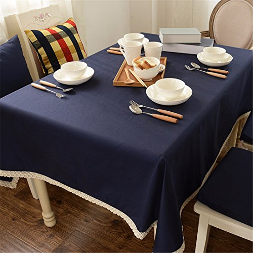 Tafelkleed, donkerblauw, kant, eenkleurig, katoen, voor eettafel, kantoor, rechthoekig, rond, milieuvriendelijke decoratie