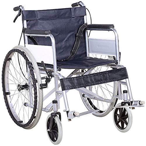 HYY-YY Discapacitados en Silla de Ruedas de Acero, Plegable Silla de Ruedas Manual portátil, Vespa, 360% de rotación, Conveniente for la Gente: Ancianos, discapacitados (Black.66X87 × 90 × 50 cm)