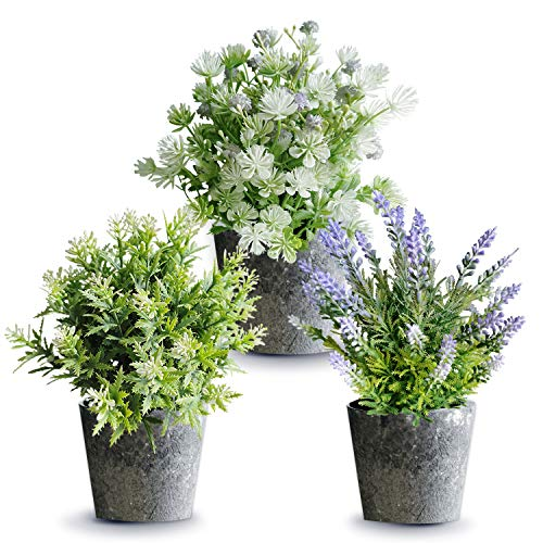 3 Pcs Set Artificial Potted Plants Flowers with Pot Potted Artificial Eucalyptus Plants Plastic Fake Green Plant for Table Home Office Decor Houseplants Update 2