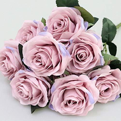 letaowl Künstlicher Blumenstrauß aus Kunstseide, französische Rosen, Blumenstrauß, Blumenarrangement, Tischdekoration, Hochzeitsblumen, Partyzubehör, fliederfarben