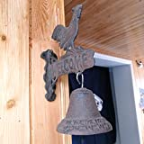 LSMK Door Knocker Vintage Cock Wall Hanging Bell, American Style Front Doorbell/Manually Shaking Outside Bell, with Welcome Signage, for Bar Doorway Shop Decor