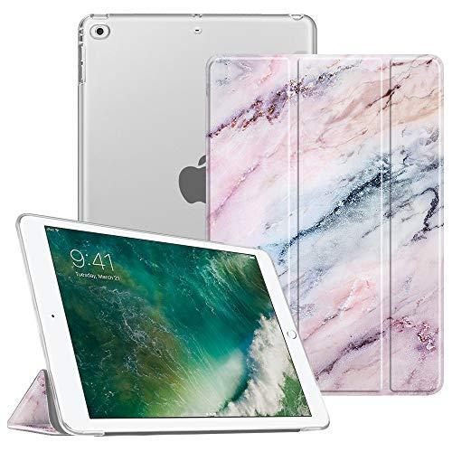 Fintie Funda para iPad 2018/2017 - Trasera Transparente Carcasa Ligera con Función de Soporte y Auto-Reposo/Activación para iPad 5.ª / 6.ª Generación 9,7 Pulgadas, Mármol Rosa