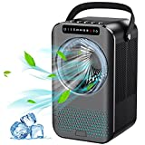 Portable Air Conditioner Fan, Personal Air Cooler, 600ML Mini Evaporative Air Cooler with LED Display, 3 Speeds 2 Mist, Quiet Air Humidifier Misting Fan, Small Desktop Cooling Fan for Office