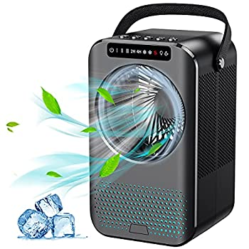 Personal Air Cooler Portable Air Conditioner Fan Evaporative Mini Cooler Desk Fans with 600ML Water Tank and 3 Speeds Cooling Mist Humidifier with 8 Colors Night Light for Room/Office/Dorm/Bedroom
